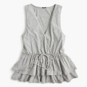 J. Crew Women's Tie-Waist Tiered Tank Grey